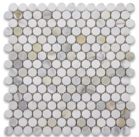 Calacatta Gold Penny Round Mosaic, Polished or Honed