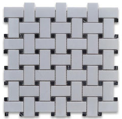 Thassos White Greek Marble Basketweave Mosaic Tile with Black Dots, Polished or Honed