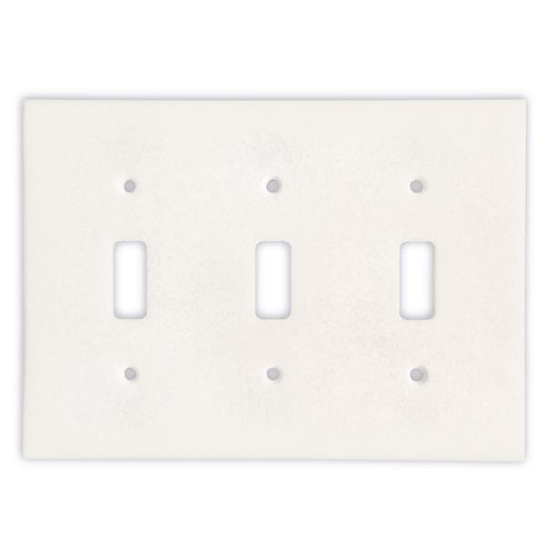 Thassos White Marble Triple Toggle Switch Plate Tilezz