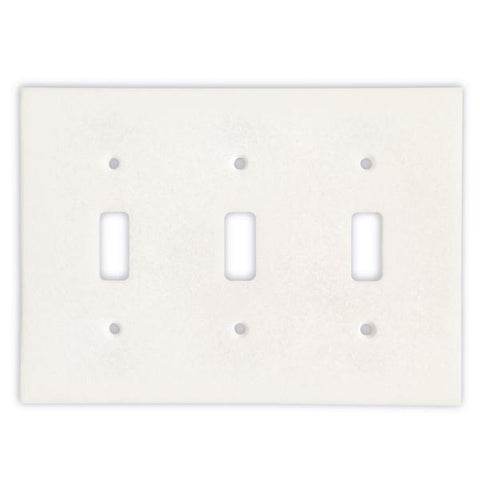 THASSOS WHITE MARBLE TRIPLE TOGGLE SWITCH WALL PLATE / SWITCH PLATE / COVER - HONED OR POLISHED