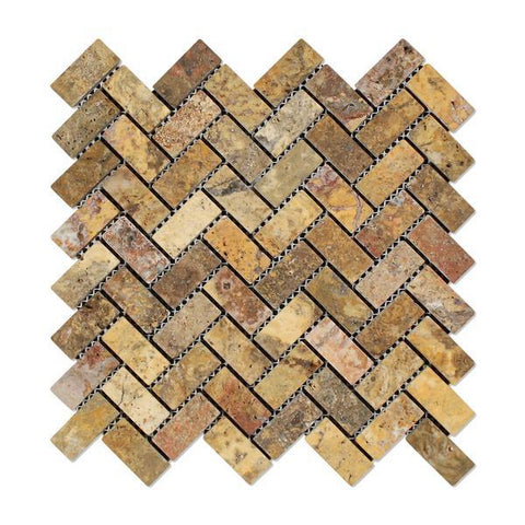 Scabos Travertine 1x2 Tumbled Herringbone Mosaic
