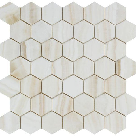"White Onyx Vein Cut 2"" Hexagon Polished Mosaic Stone Tilezz"