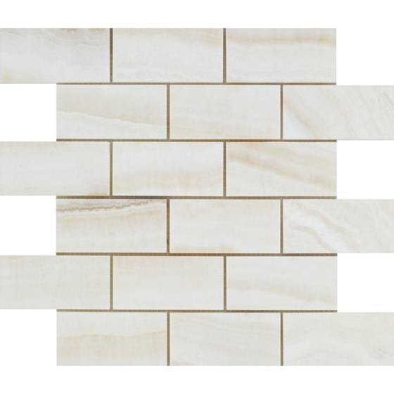 White Onyx Vein Cut 2x4 Brick Mosaic Tile Polished Stone Tilezz