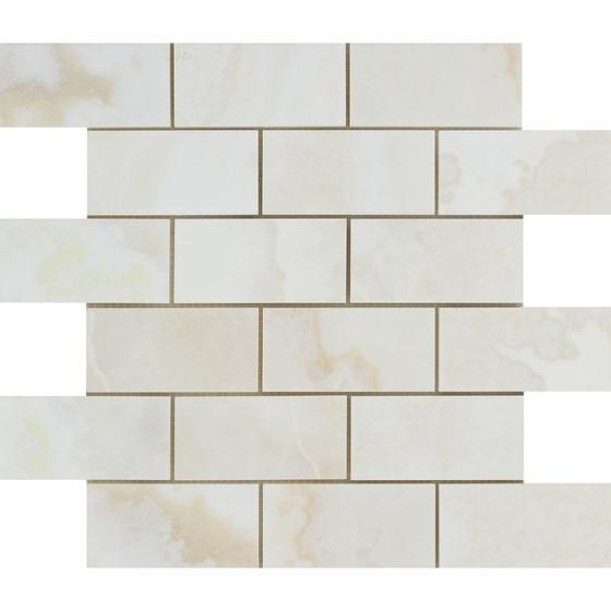White Onyx Cross Cut 2x4 Brick Mosaic Tile Polished Stone Tilezz