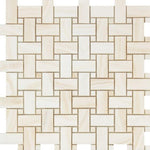 Load image into Gallery viewer, White Onyx Vein Cut Basketweave Mosaic Tile Polished Stone Tilezz