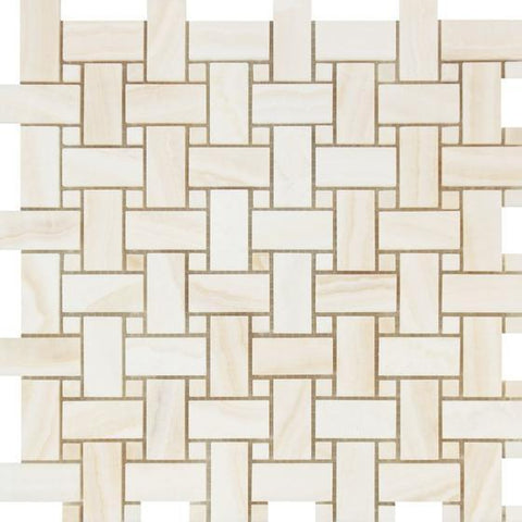 White Onyx Vein Cut Basketweave Mosaic Tile Polished Stone Tilezz