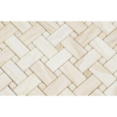 White Onyx Vein Cut Basketweave Mosaic Tile Polished