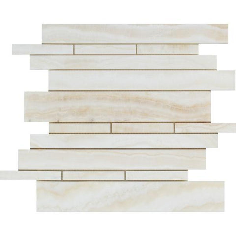 White Onyx Vein Cut Random Strip Polished Mosaic Stone Tilezz