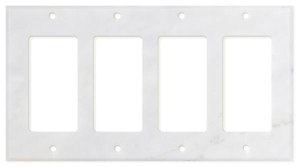 Carrara White Marble Quadruple Rocker Switch Plate Polished/Honed Tilezz