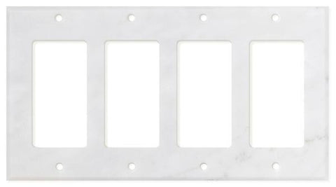 ITALIAN CARRARA WHITE MARBLE QUADRUPLE ROCKER SWITCH WALL PLATE / SWITCH PLATE / COVER - HONED OR POLISHED