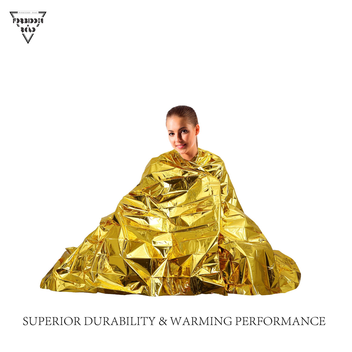 Emergency Blanket Thermal Blanket Survival First Aid Blanket for Camping Hiking - Gold - Forbidden Road