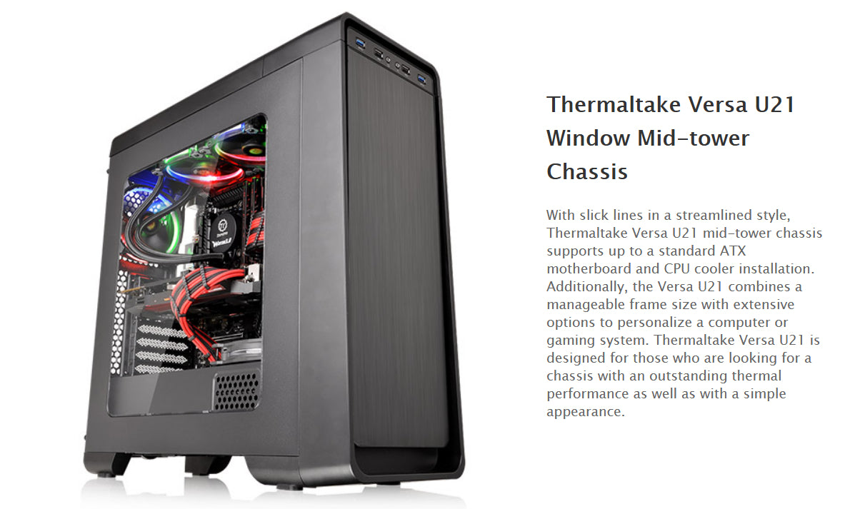 CA-1G5-00M1WN-00 Thermaltake Versa U21 Window Mid-tower Chassis