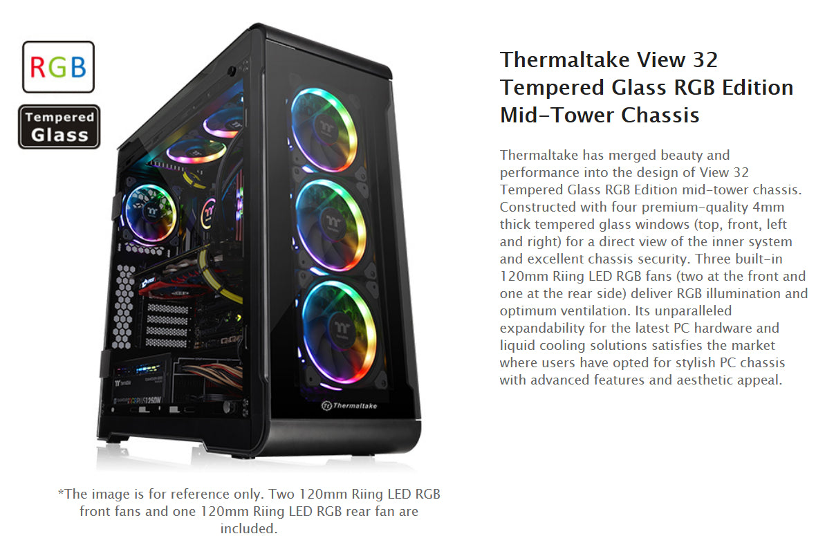 CA-1J2-00M1WN-00 Thermaltake View 32 Tempered Glass RGB Edition Mid-Tower Chassis
