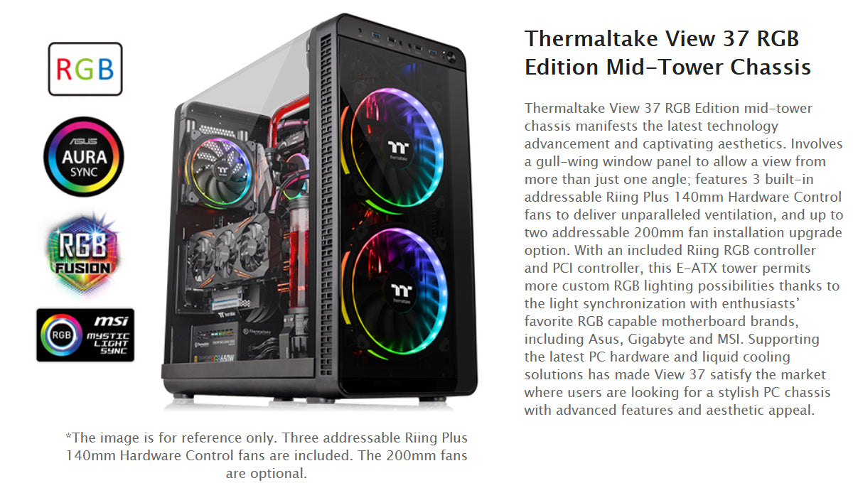 CA-1J7-00M1WN-01 Thermaltake View 37 RGB Edition Mid-Tower Chassis