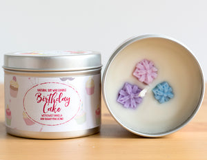 SALE - Birthday Cake Natural Soy Wax Candle - Standard Size (8oz)