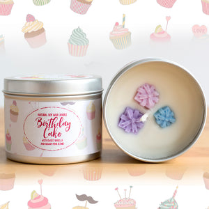 Birthday Cake Natural Soy Wax Candle - Standard Size (8oz)