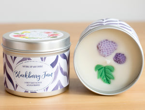 Blackberry Jam Natural Soy Wax Candle - Standard Size (8oz)