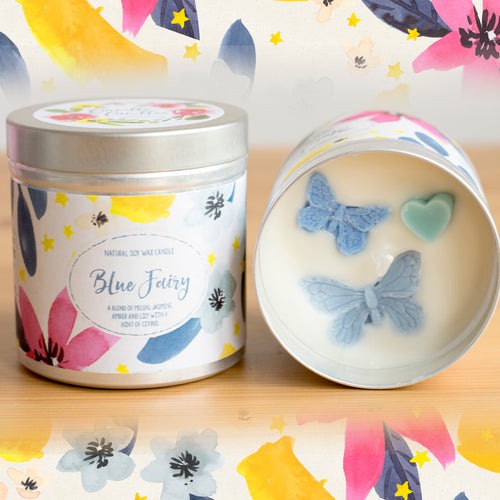 Blue Fairy Natural Soy Wax Candle - Large Size (12oz)