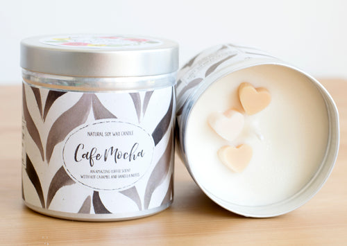 SALE - Cafe Mocha Natural Soy Wax Candle - Large Size (12oz)