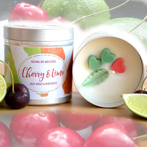 Cherry and Lime Natural Soy Wax Candle