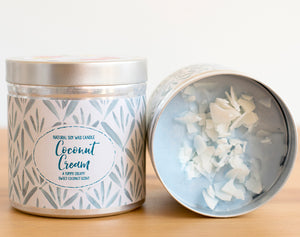 Coconut Cream Natural Soy Wax Candle - Large Size (12oz)