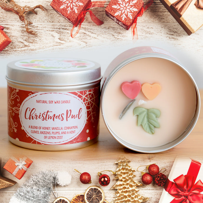 Christmas Pud Natural Soy Wax Candle - Standard Size (8oz)