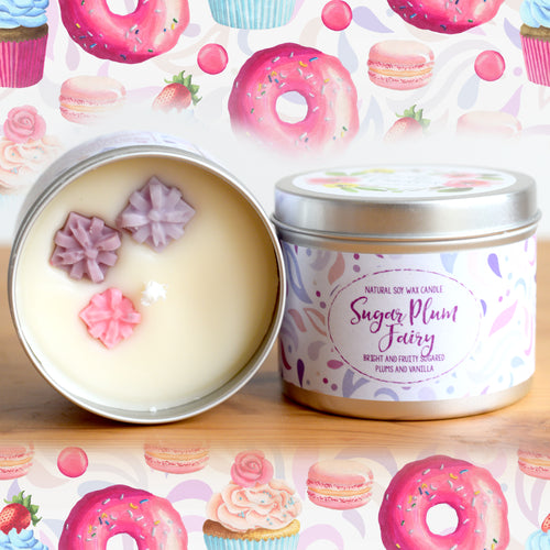 Sugar Plum Fairy Natural Soy Wax Candle - Standard Size (8oz)