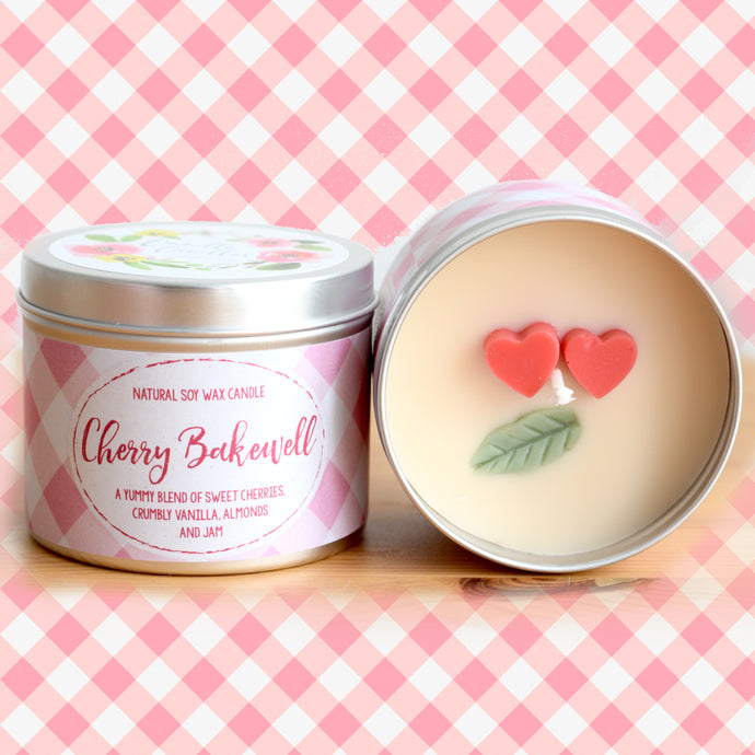 Cherry Bakewell Natural Soy Wax Candle - Standard Size (8oz)
