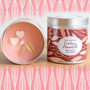 Cranberry Marmadale Natural Soy Wax Candle - Large Size (12oz)