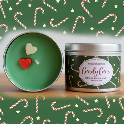 Candy Cane Natural Soy Wax Candle - Standard Size (8oz)