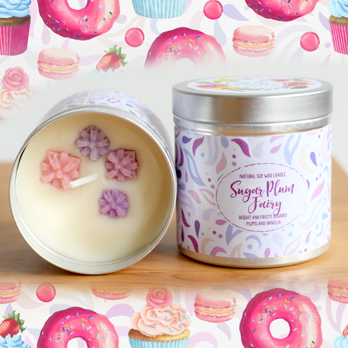 Sugar Plum Fairy Natural Soy Wax Candle - Large Size (12oz)