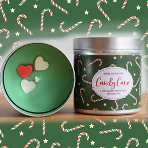 Candy Cane Natural Soy Wax Candle - Large Size (12oz)