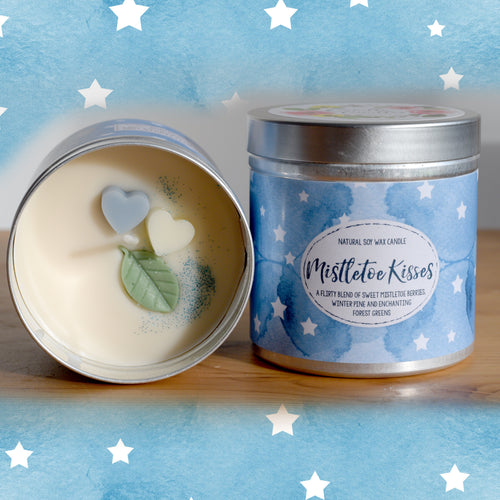 Mistletoe Kisses Natural Soy Wax Candle - Large Size (12oz)