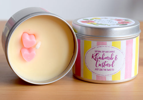SALE - Rhubarb and Custard Natural Soy Wax Candle - Standard Size (8oz)