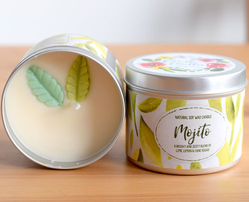 SALE - Mojito Natural Soy Wax Candle - Standard Size (8oz)