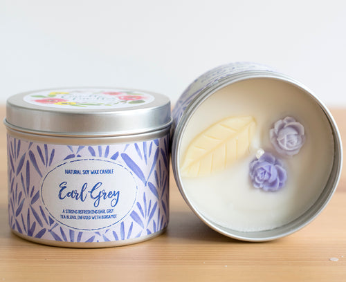 Earl Grey Natural Soy Wax Candle - Standard Size (8oz)