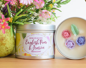 English Pear and Fressia Natural Soy Wax Candle
