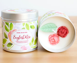 SALE - English Rose Natural Soy Wax Candle - Large Size (12oz)