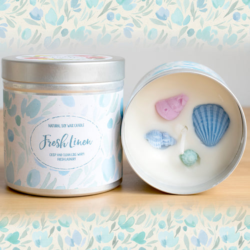 Fresh Linen Natural Soy Wax Candle - Large Size (12oz)