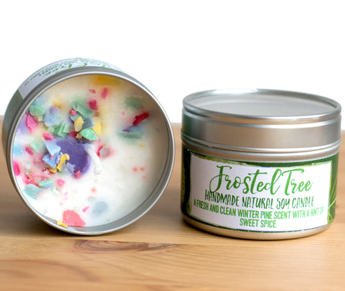 Frosted Tree Natural Soy Wax Candle - Standard Size (8oz)