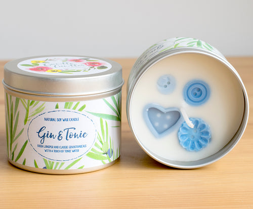 SALE - Gin and Tonic Natural Soy Wax Candle - Standard Size (8oz)