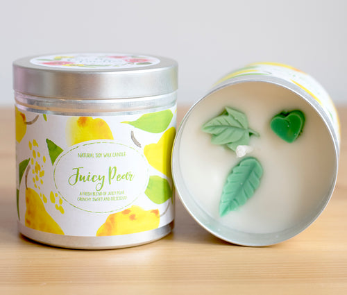 SALE - Juicy Pear Natural Soy Wax Candle - Large Size (12oz)