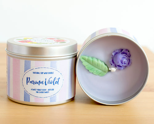 SALE - Parma Violet Natural Soy Wax Candle - Standard Size (8oz)