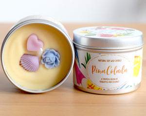 Pina Colada Natural Soy Wax Candle - Standard Size (8oz)