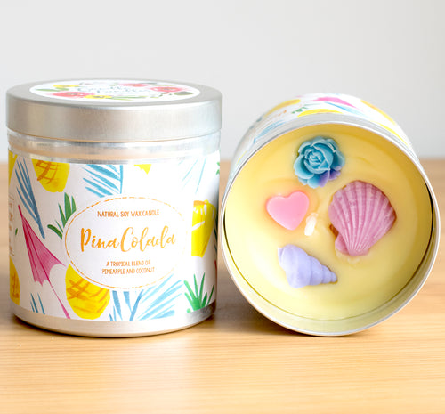 SALE - Pina Colada Natural Soy Wax Candle - Large Size (12oz)