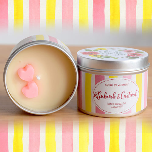 Rhubarb and Custard Natural Soy Wax Candle - Standard Size (8oz)