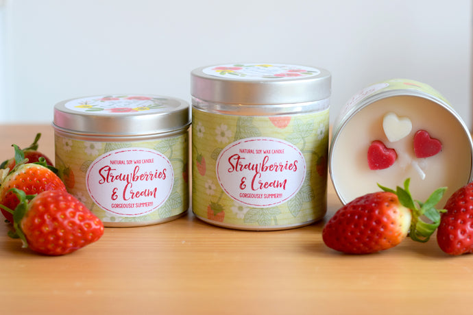 Strawberries and Cream Natural Soy Wax Candle - Standard Size (8oz)