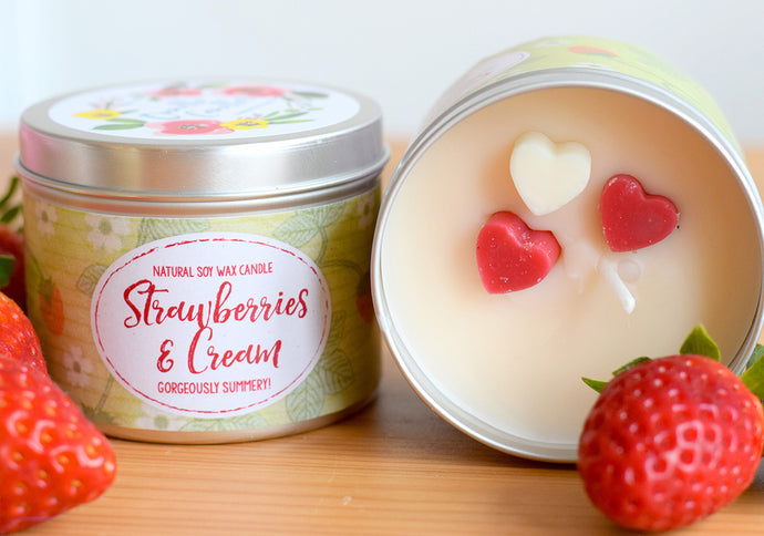 SALE - Strawberries and Cream Natural Soy Wax Candle - Standard Size (8oz)