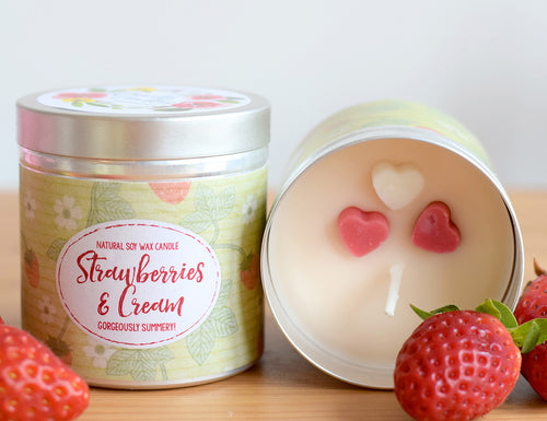 SALE - Strawberries and Cream Natural Soy Wax Candle - Large Size (12oz)