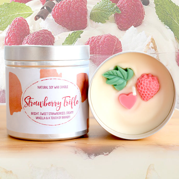 Strawberry Trifle Natural Soy Wax Candle - Large Size (12oz)